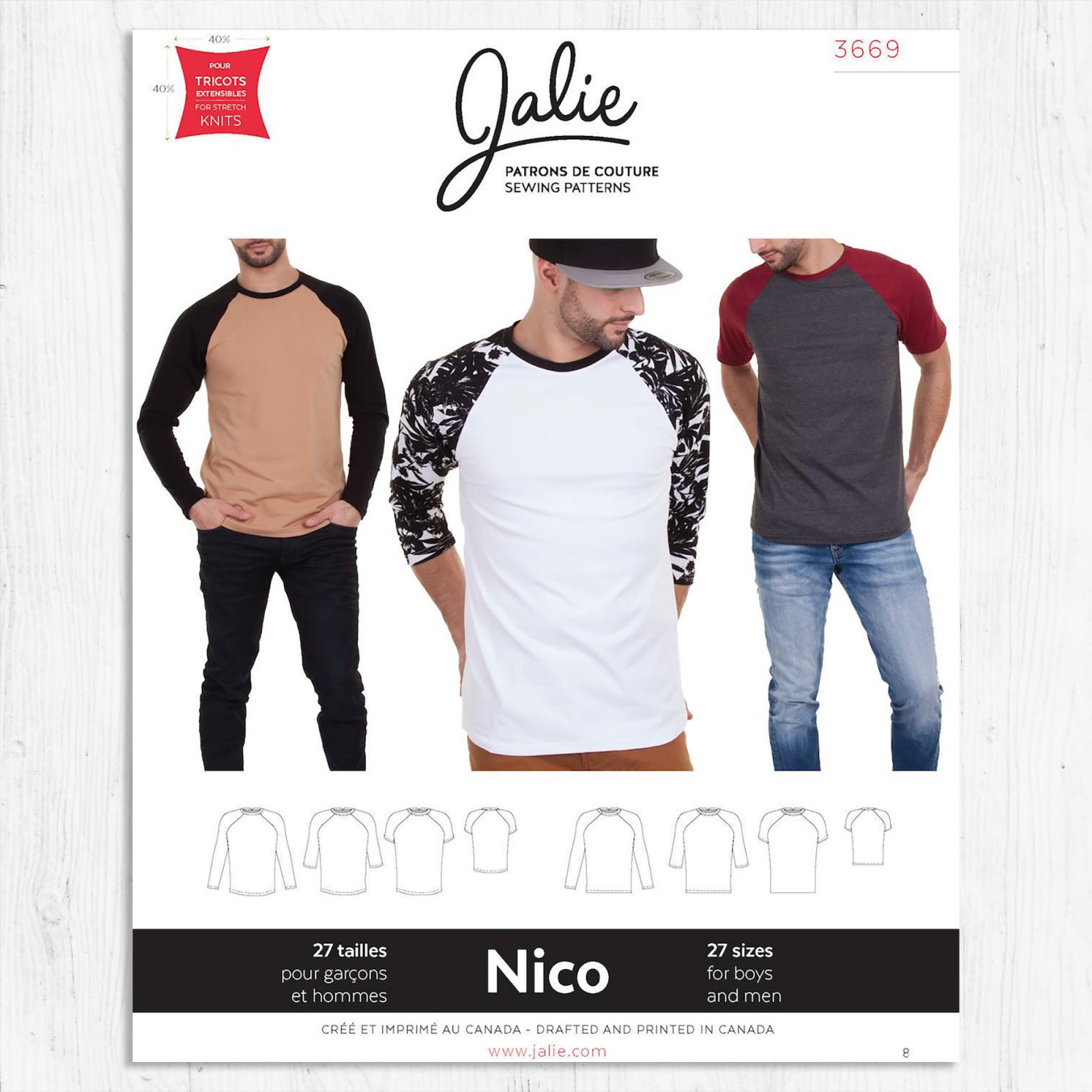 Jalie Patterns - Nico Raglan Tee for Men & Boys