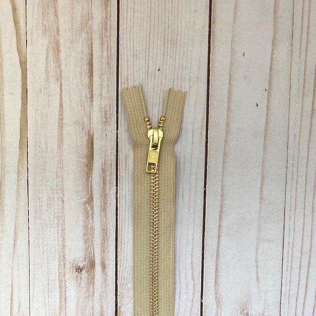 YKK Metal Zipper - Beige
