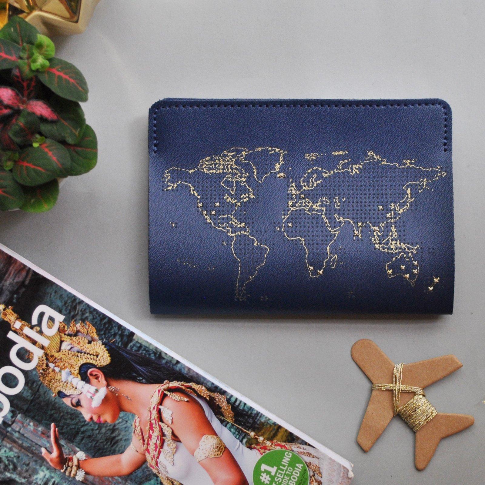 Stitch Leather Passport Cover - Navy