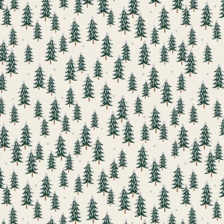 Holiday Classics - Fir Trees Silver Metallic