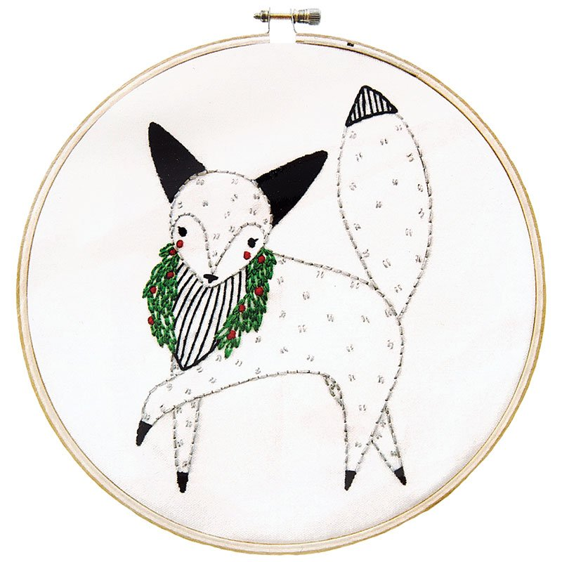 Holiday Embroidery Sampler - Fox