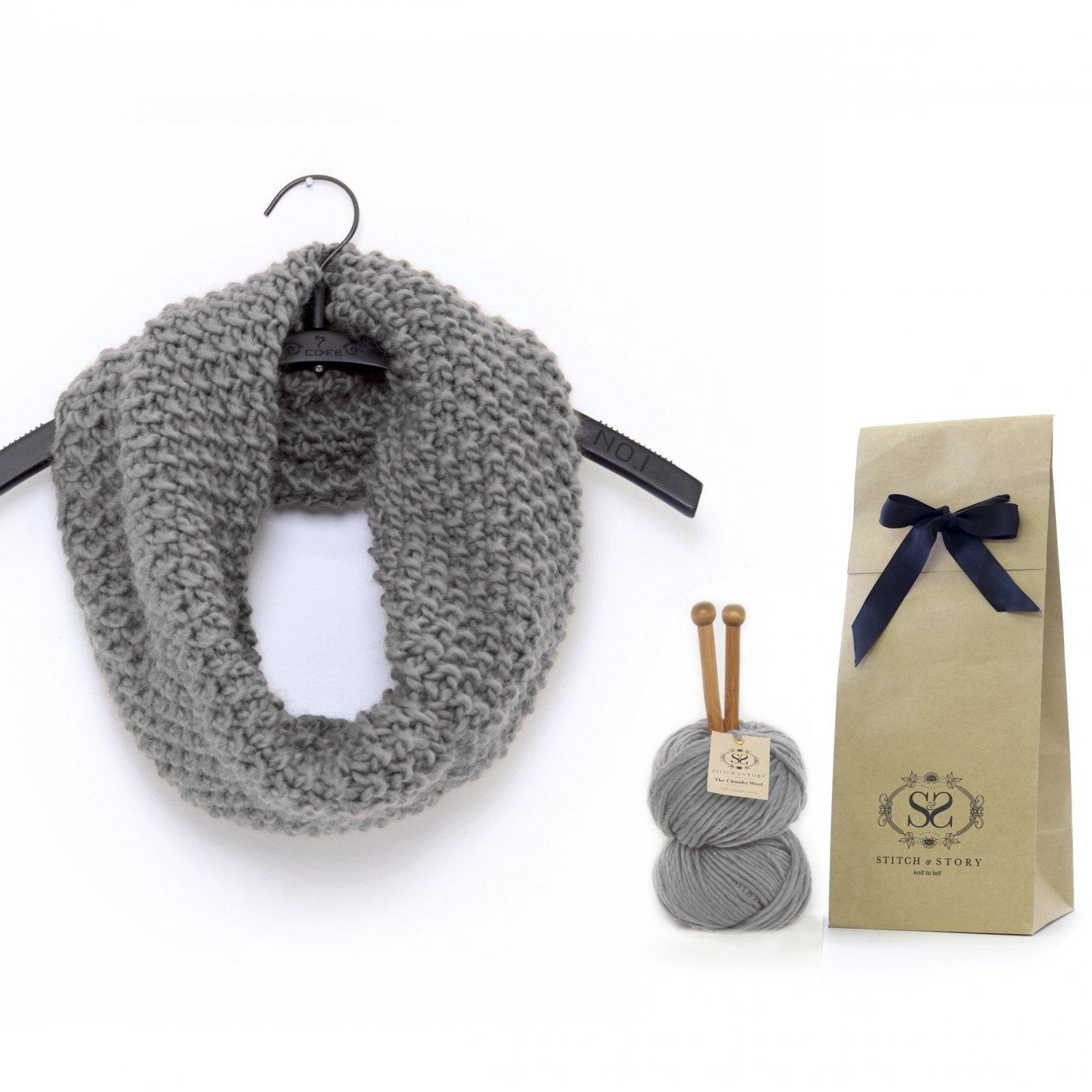 Knitting Kit - Grey Cowl