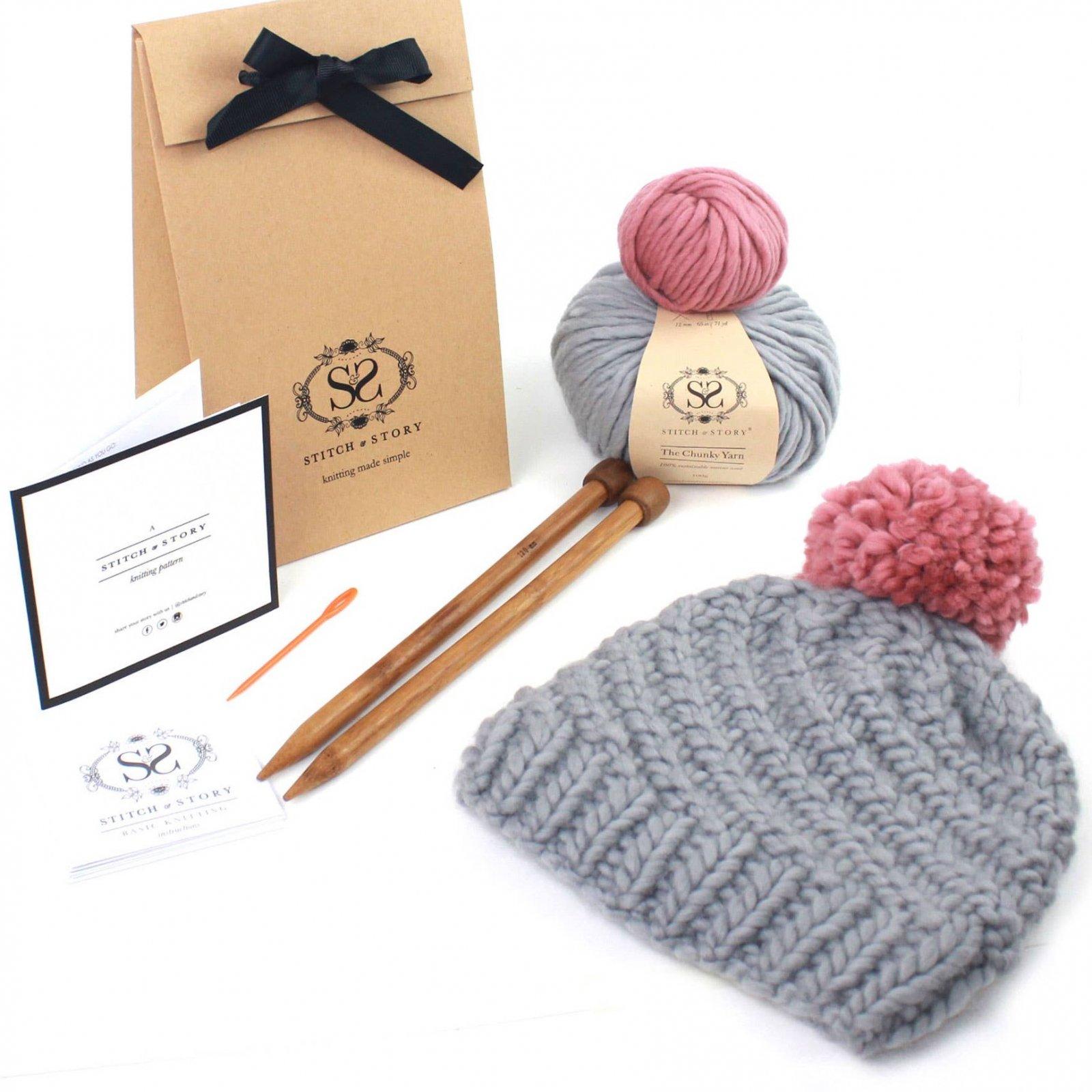 Knitting Kit - Grey Pom Pom Hat
