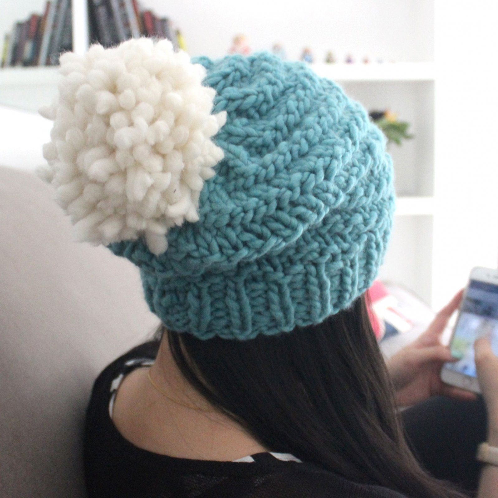 Knitting Kit - Teal Pom Pom Hat