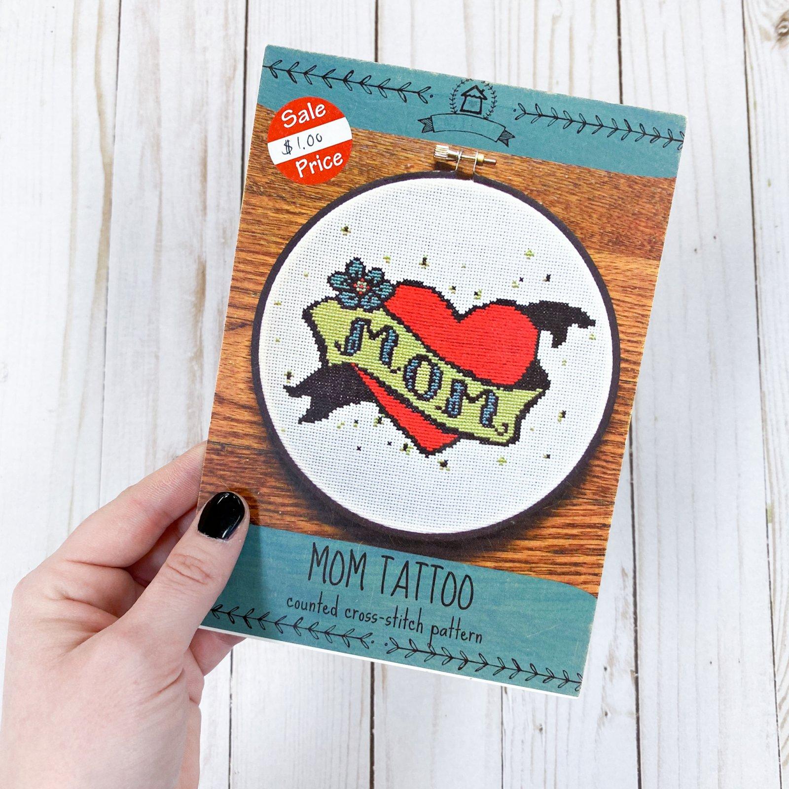 Mom Tattoo Cross-Stitch Pattern Card