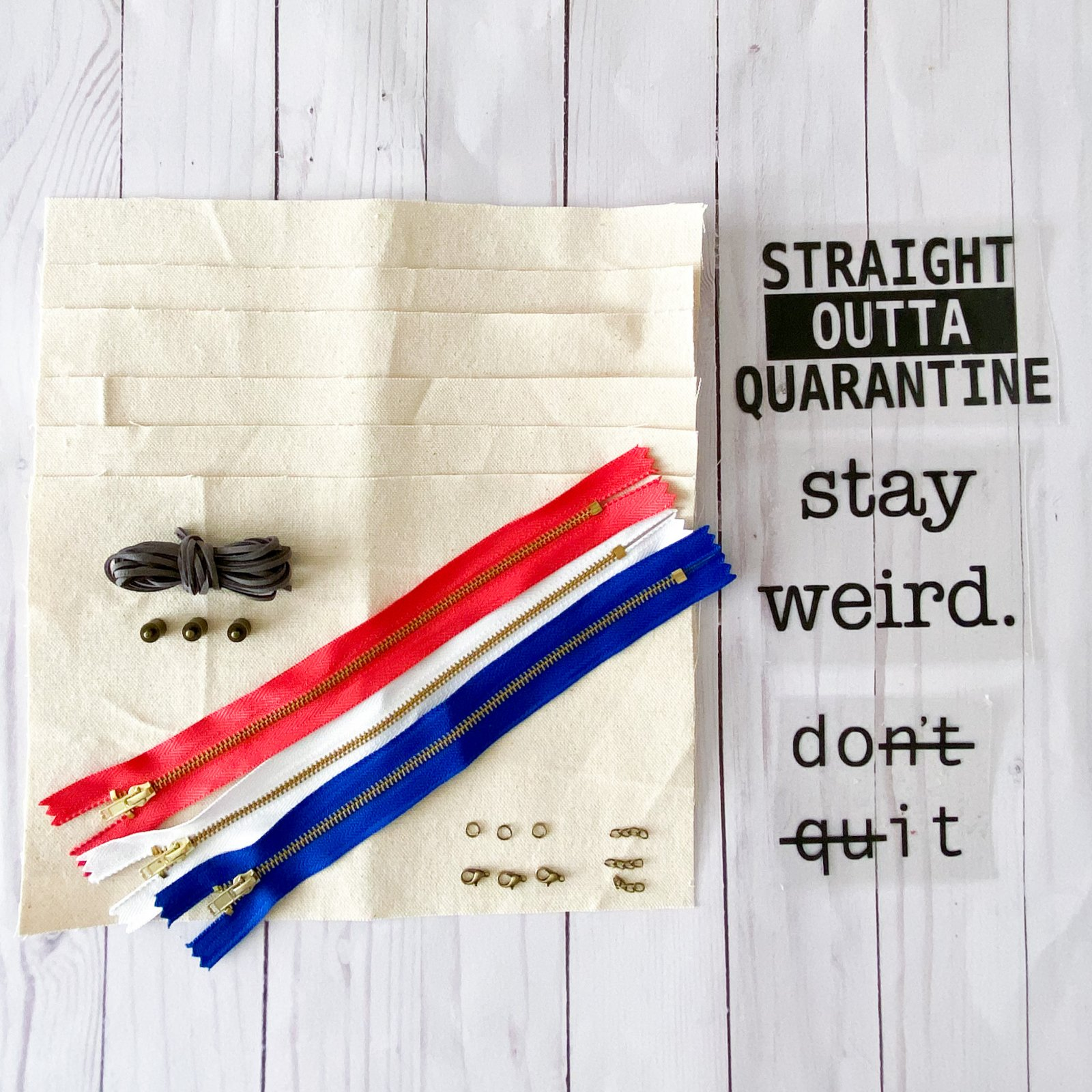 Easy Personalized Pouch Kit - Coral, White + Royal Blue