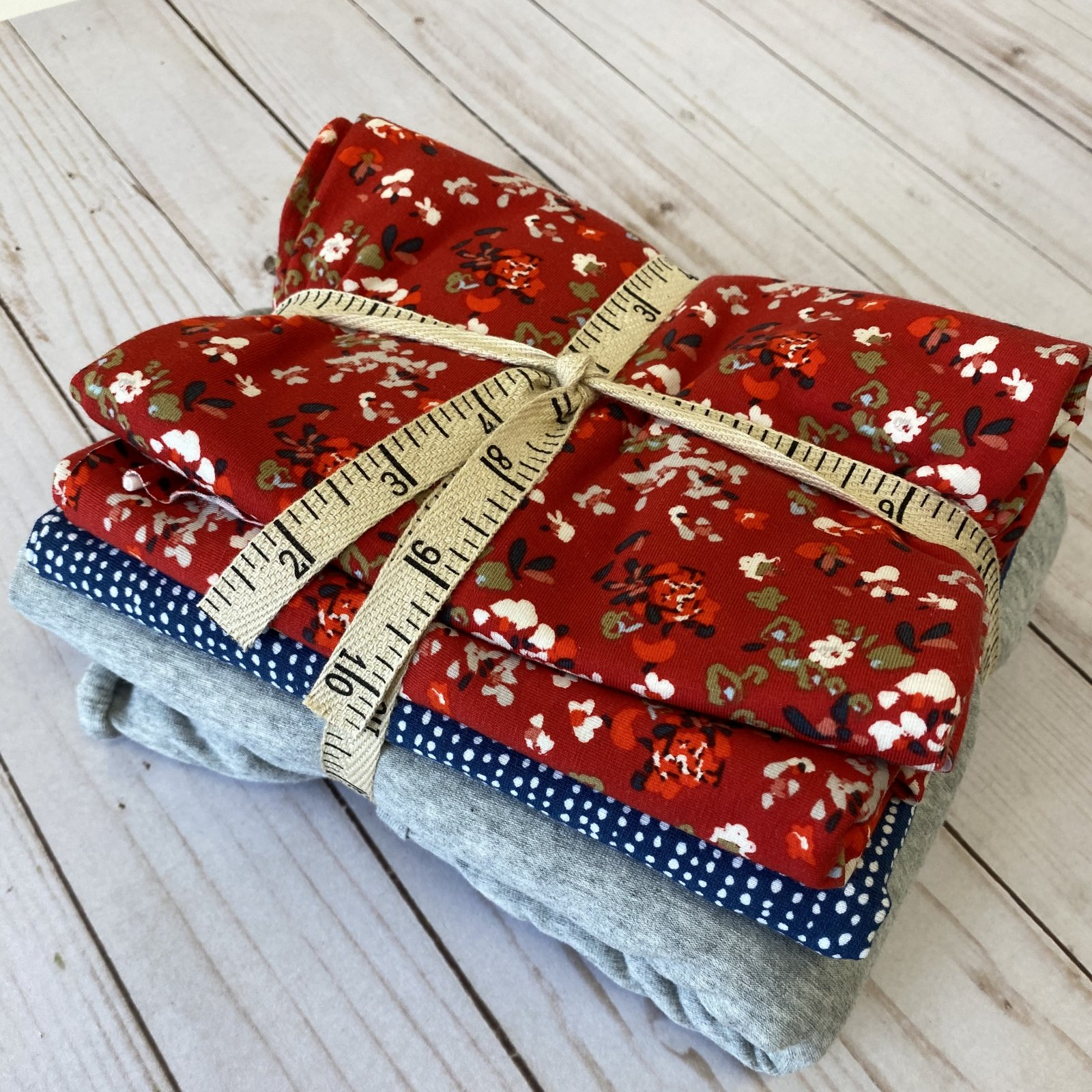 Knit Remnant Bundle - Red, Gray and Blue