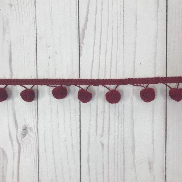 1-1/8 Pom Pom Trim - Burgundy