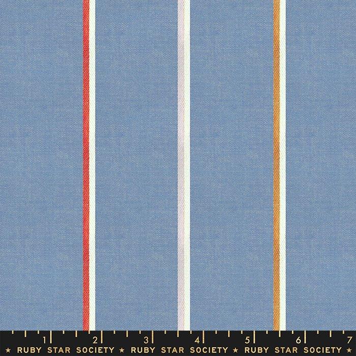 Warp + Weft Heirloom - Medium Stripe Blue Slate