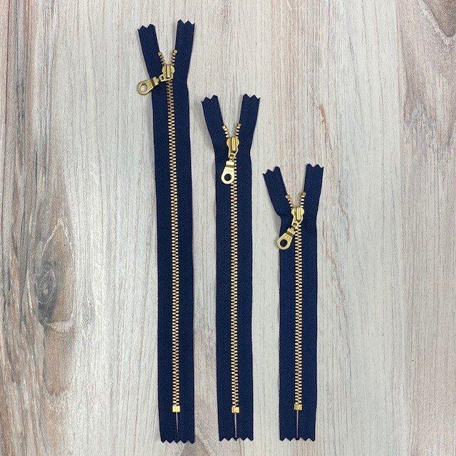 Navy + Brass Metal Zippers