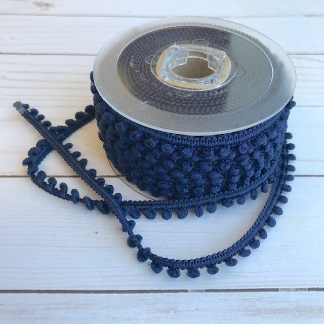 1/2 Mini Pom Pom Trim - Navy