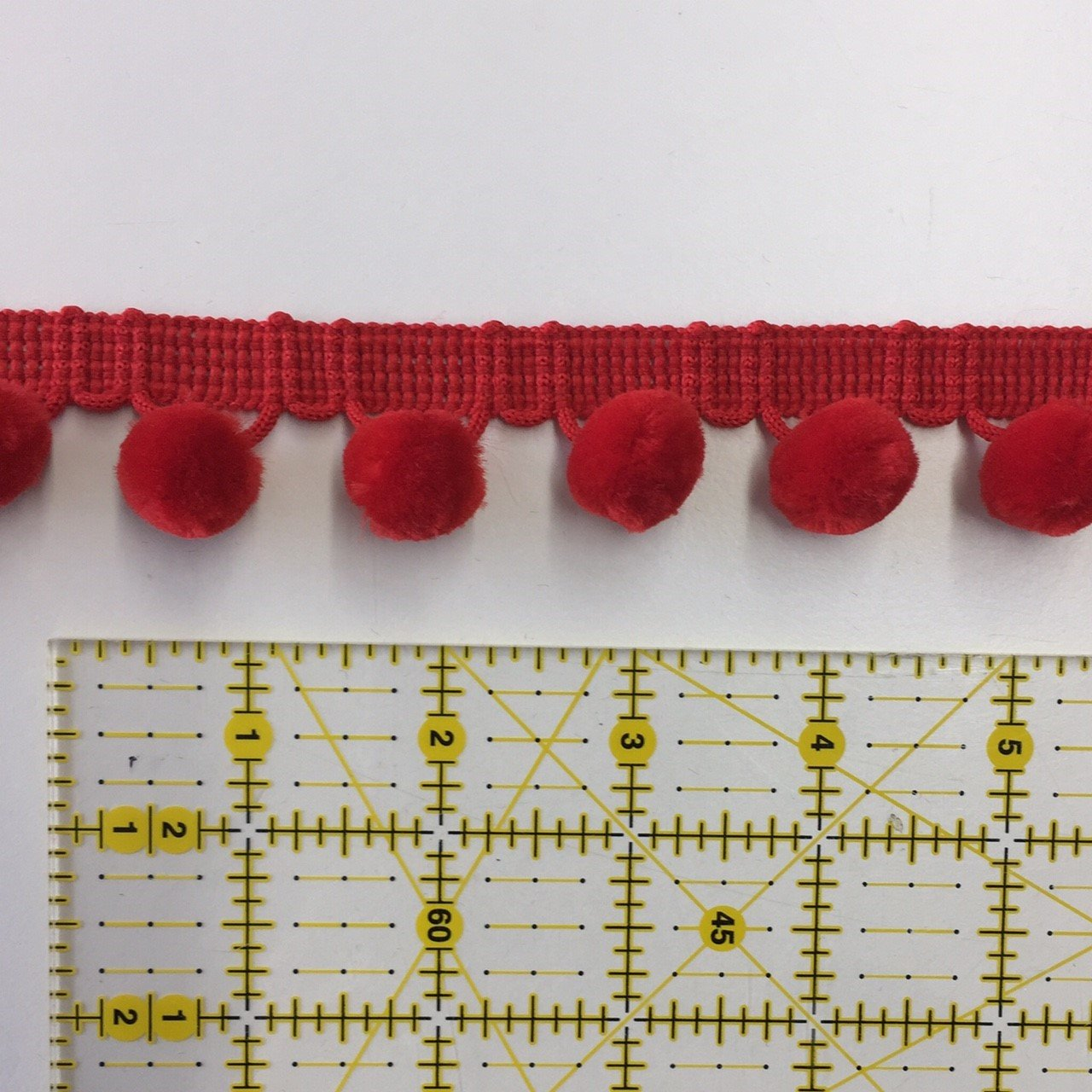 1-1/8 Ball Fringe Trim / Pom Pom Trim - Red