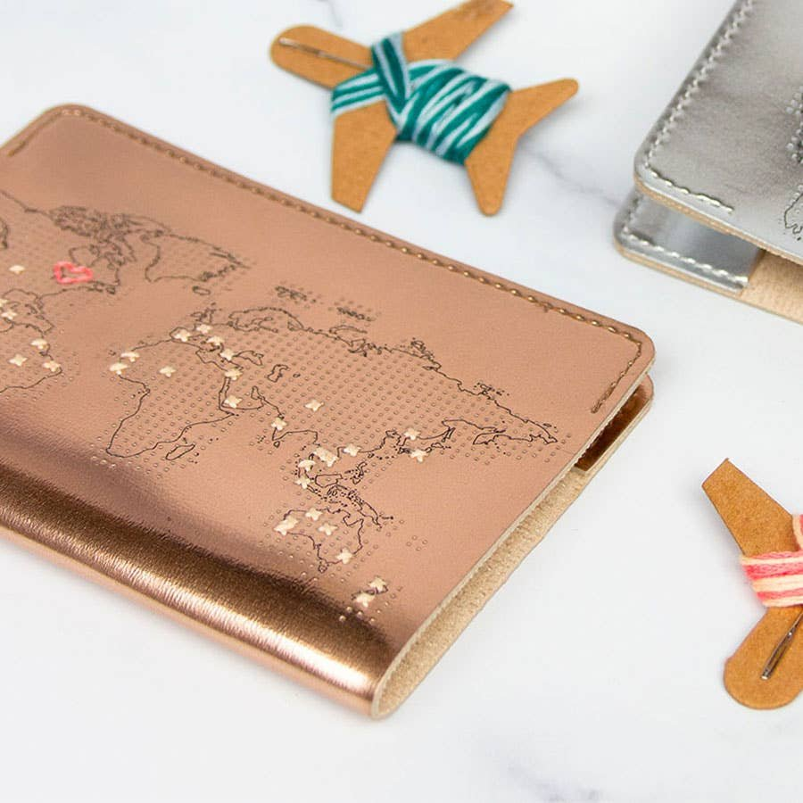 Stitch Leather Passport Cover - Rose Gold
