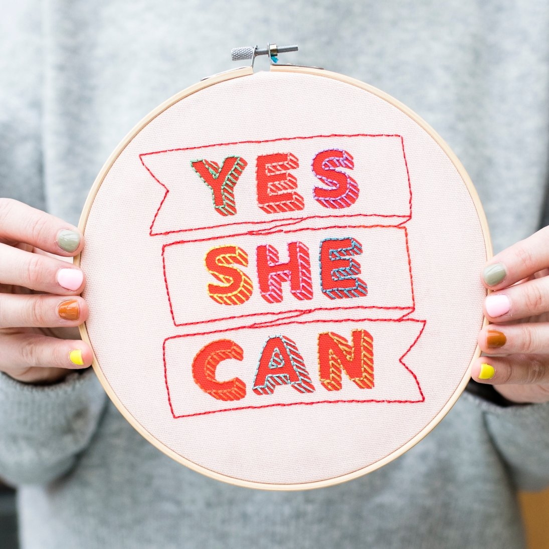 Yes She Can Embroidery Hoop Kit - Pink and Red