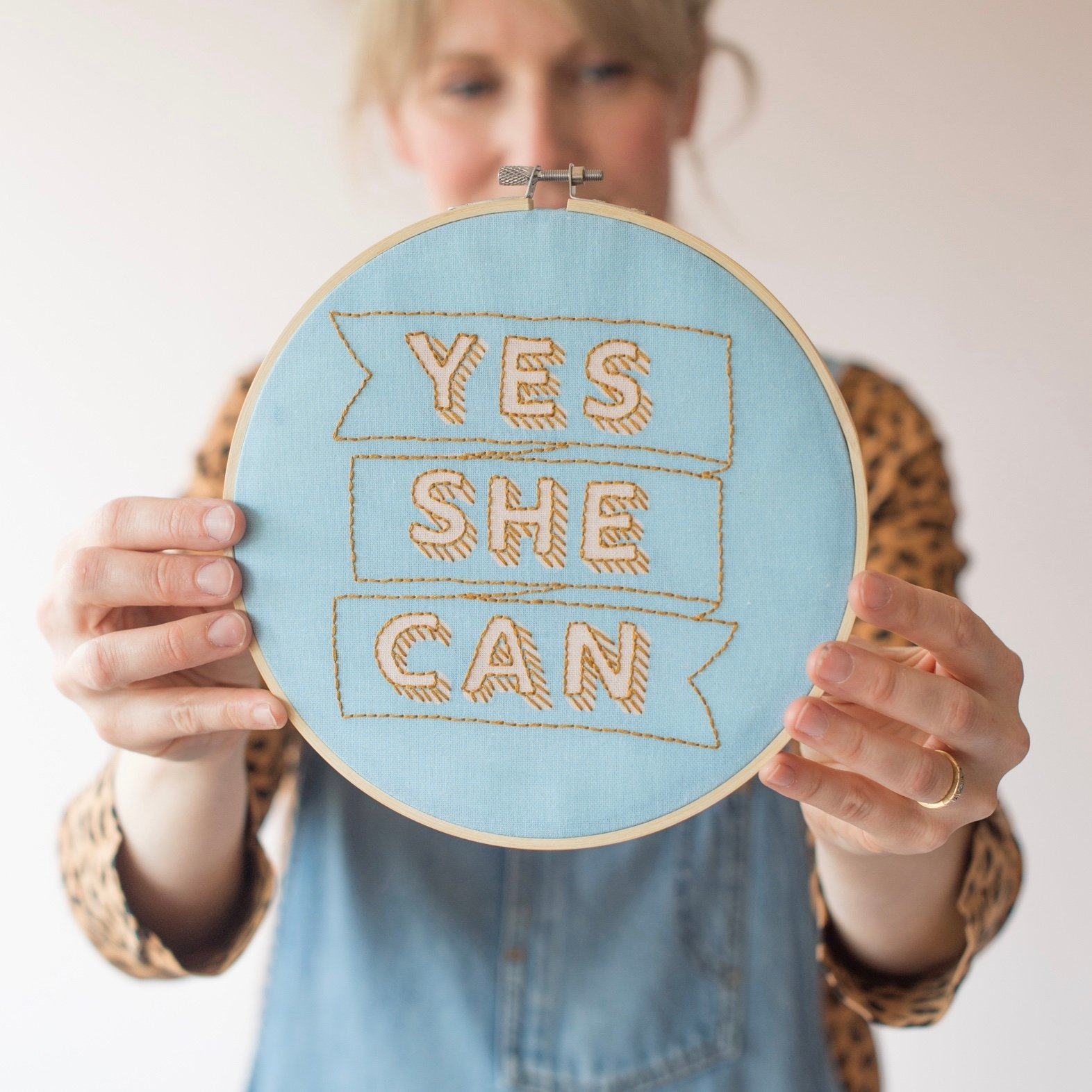 Yes She Can Embroidery Hoop Kit - Blue and Gold