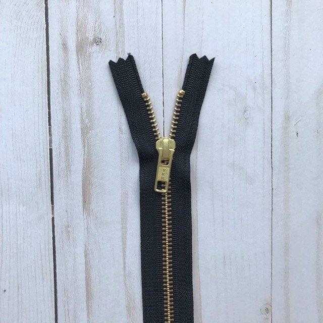 YKK Metal Zipper - Black with Gold Teeth