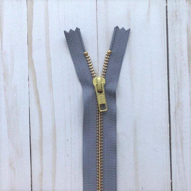 YKK Metal Zipper - Medium Gray