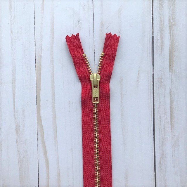 YKK Metal Zipper - Red