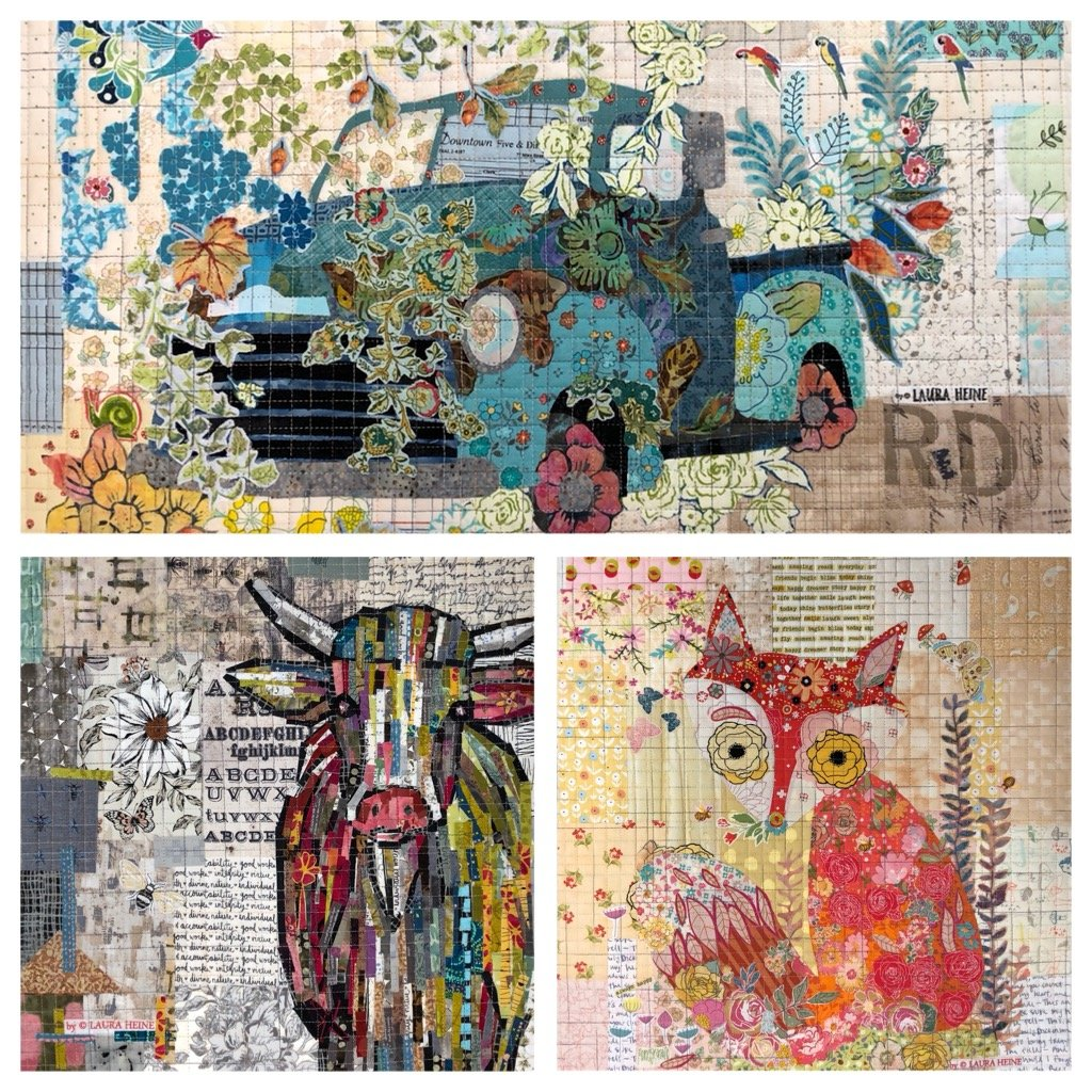 Teeny Tiny Collage Pattern #2 Fox, Cow, Truck by Laura Heine.