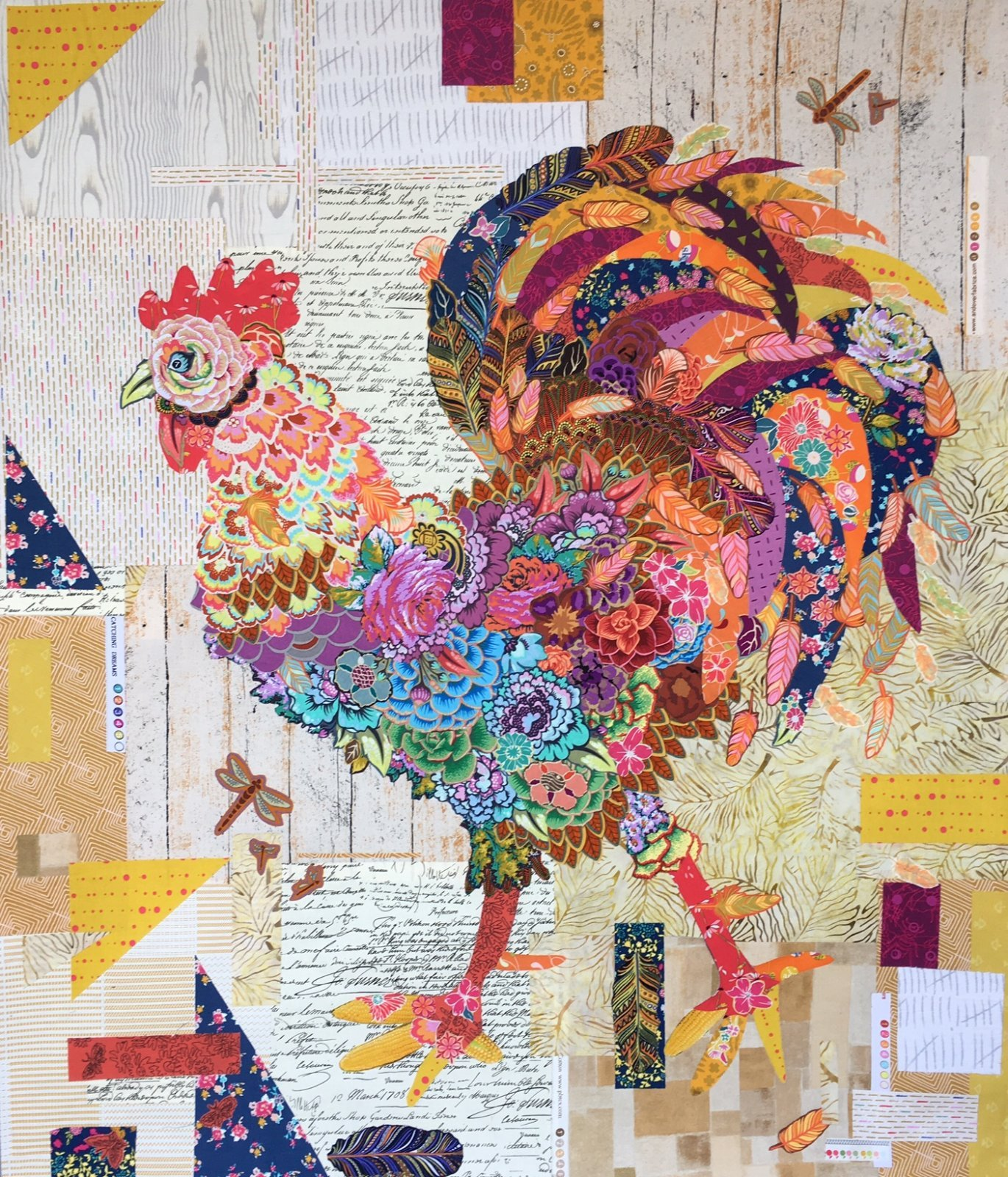 Laura Heine - Doodle Doo Rooster Collage Pattern