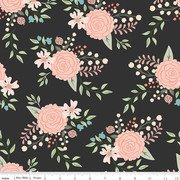 Riley Blake Bliss SC8160 Black Sparkle roses