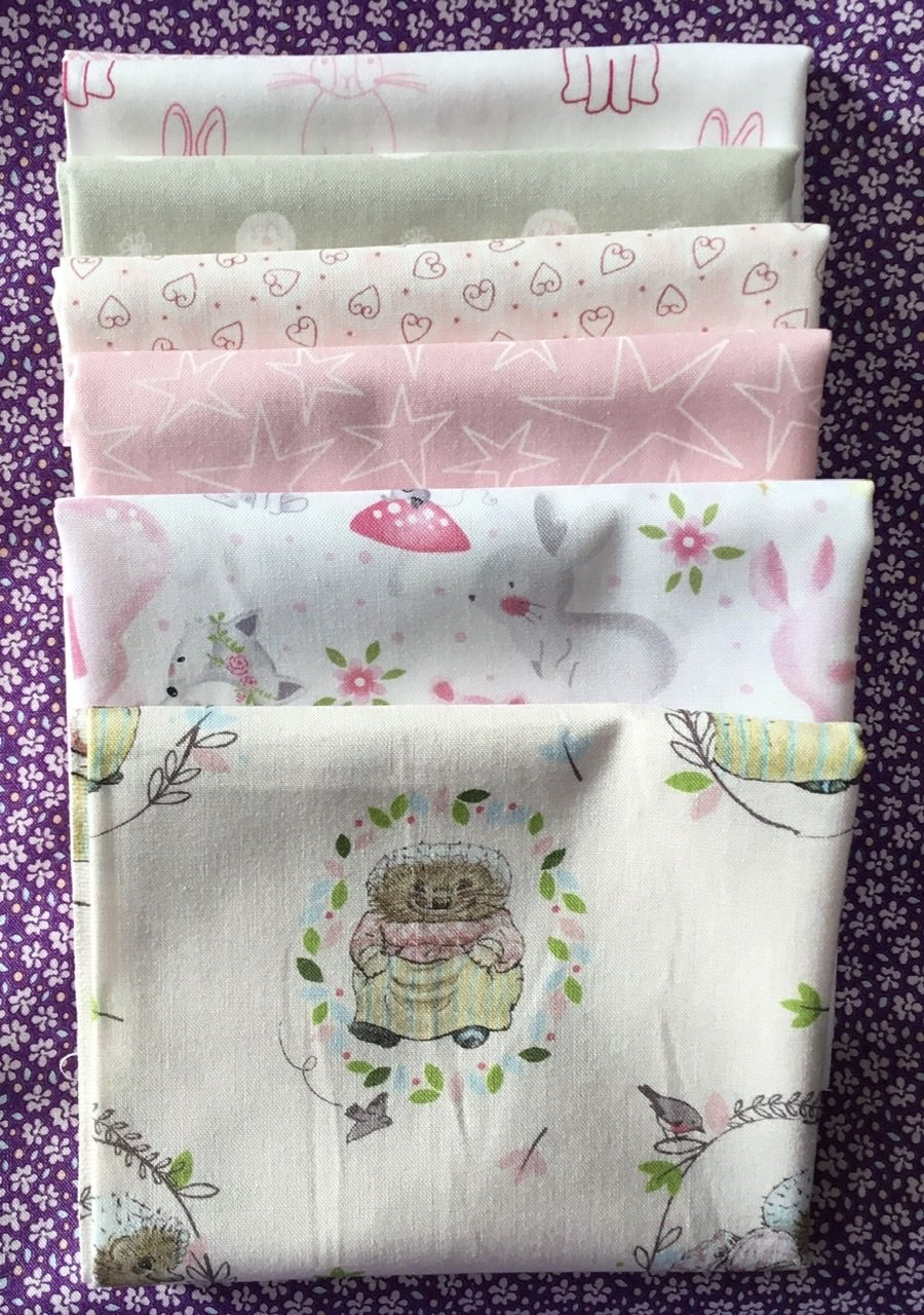 Baby Cot Quilt fabric kit  Pink pretties