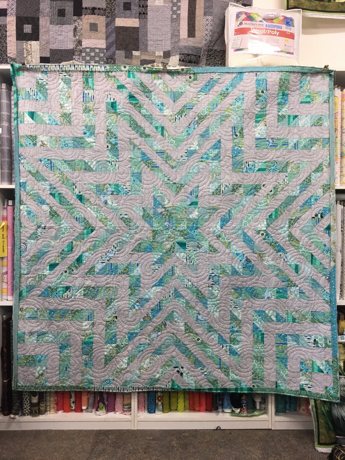 Ardrossan grey and aqua queen sized quilt