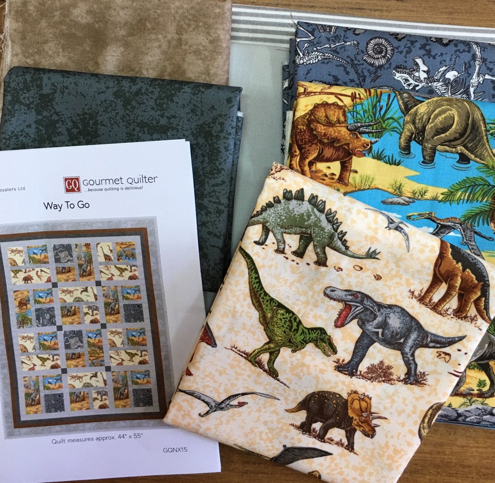 Way to Go Dinosaurs quilt  top kit