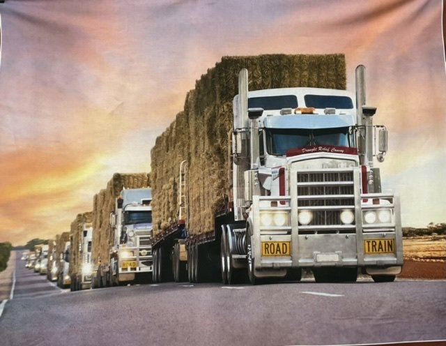 Drought Relief convoy Road Trains panel