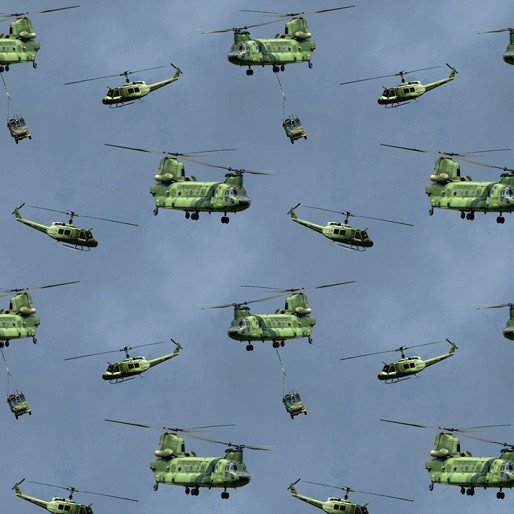 Remembering Vietnam chinook and helicopters on blue