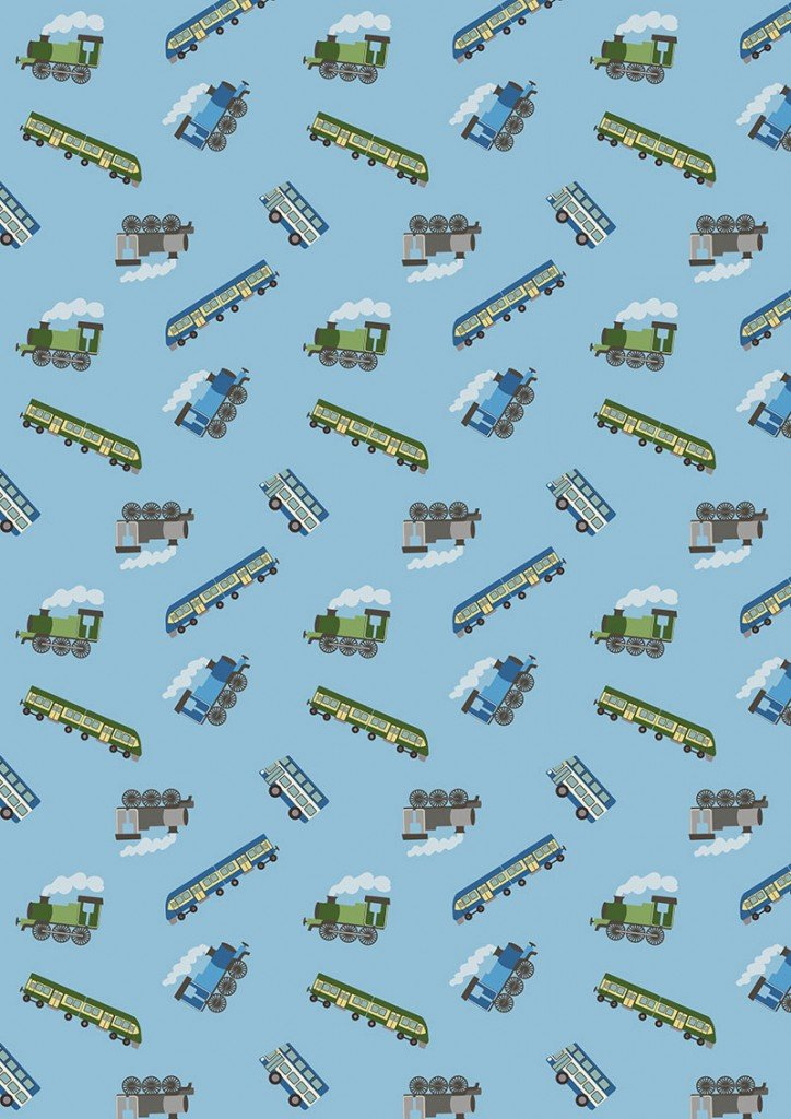 Small Things on the Move 43 Trains on Blue