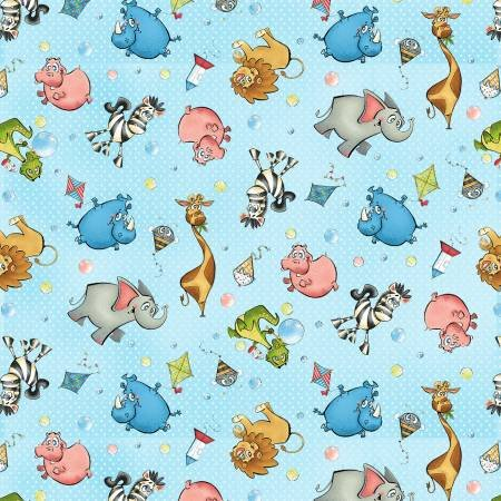 A Jungle Story tossed animals on blue