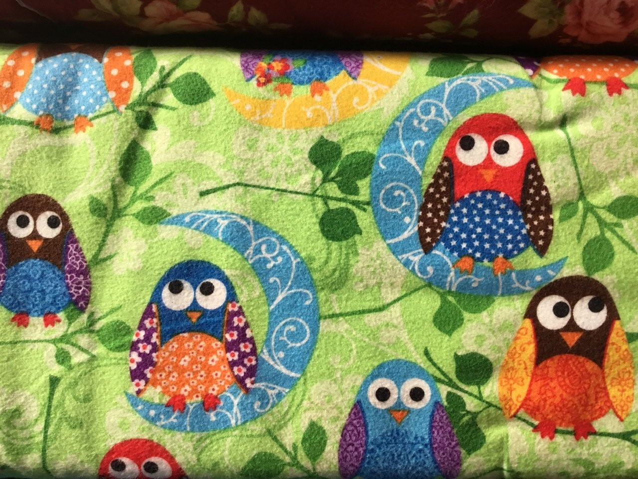 Lime green owls flannel