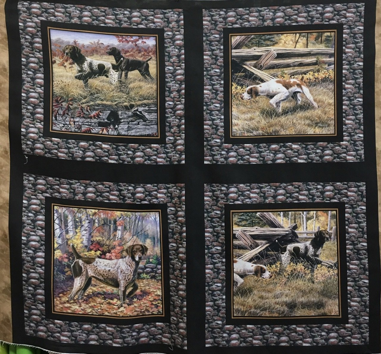 Show Dogs Four cushion panel squares