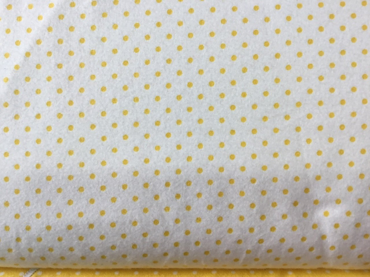White flannel with yellow dots