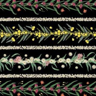 Flowers of Australia Stripe black