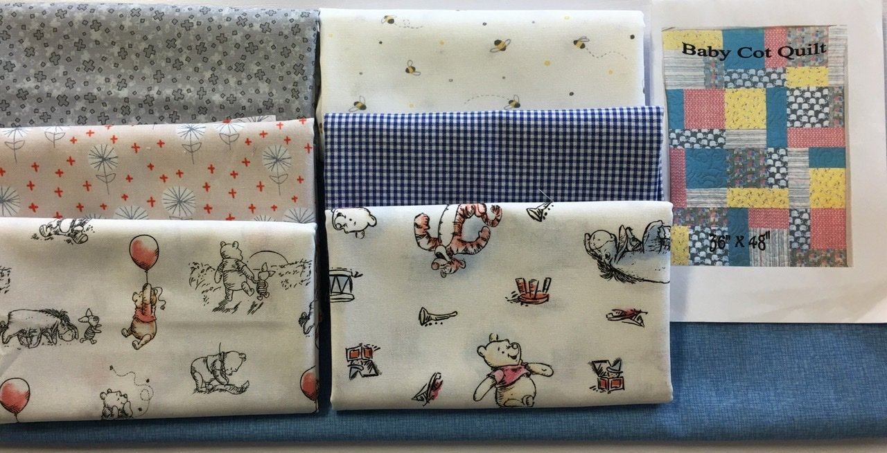 Baby Cot Quilt Winnie the Pooh flying high  fabric kit