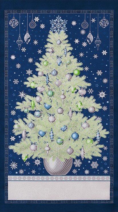 Winters Grandeur Navy Christmas Tree 183789 panel