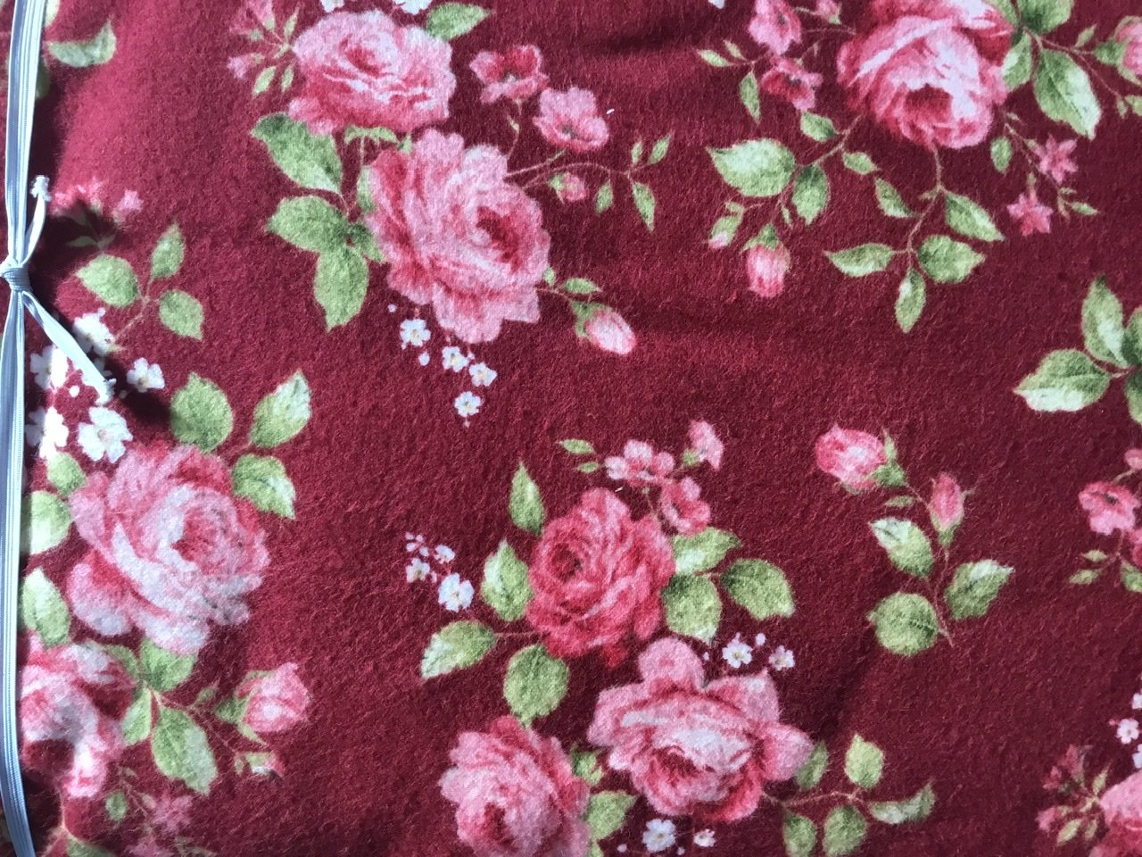 Burgundy flannel with vintage roses