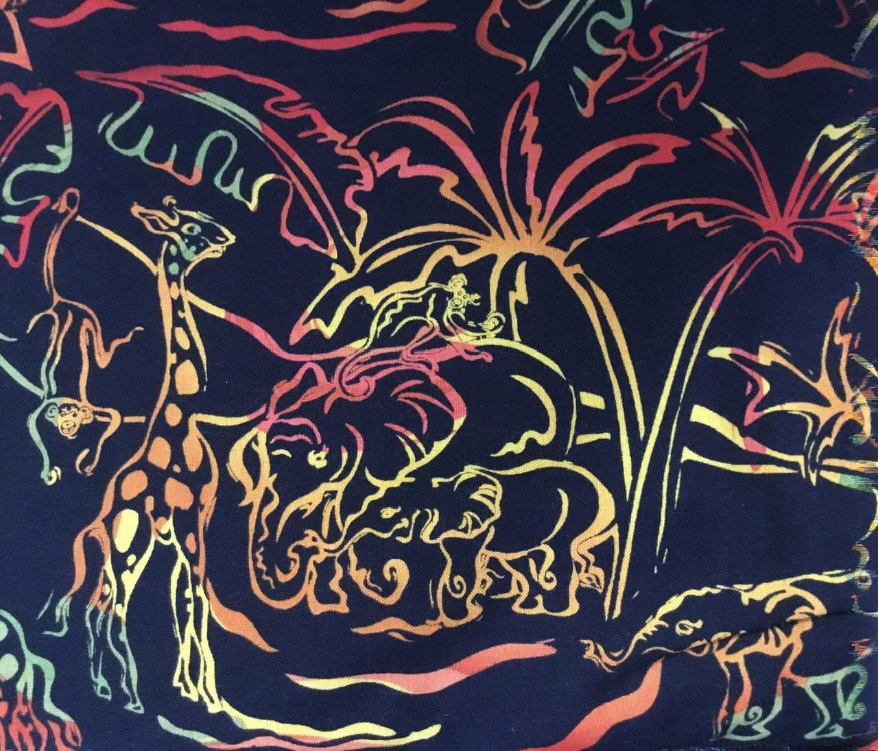 Jungle animals on black