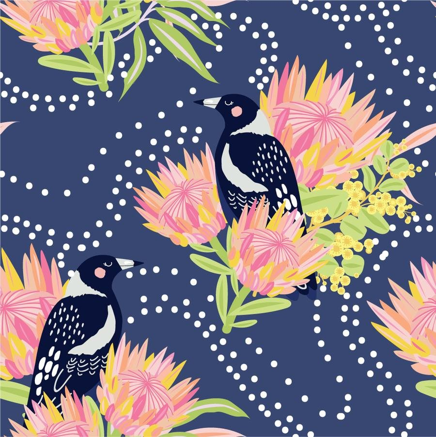 Clever Magpies on Blue