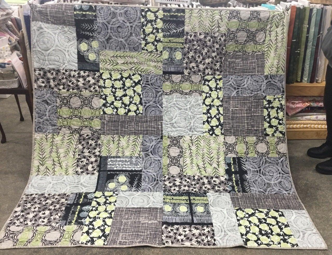 Green grey modern quilt