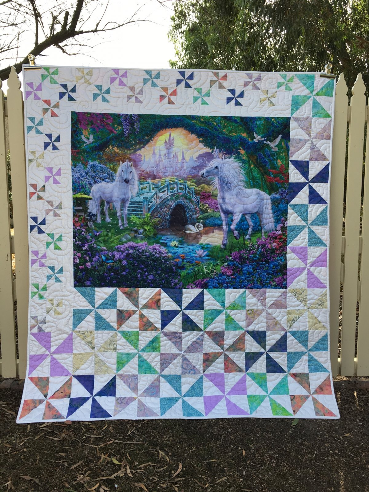 Unicorns in fantasyland quilt top kit