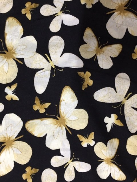 Butterflies large cream and tan on black with gold