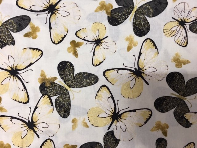 Butterflies large black and tan on white with gold