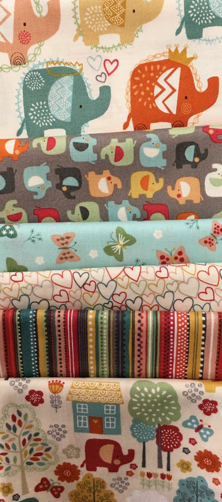 Baby Cot Quilt  ELLIE ELEPHANTS fabric kit