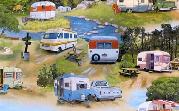 Caravans blue in the bush