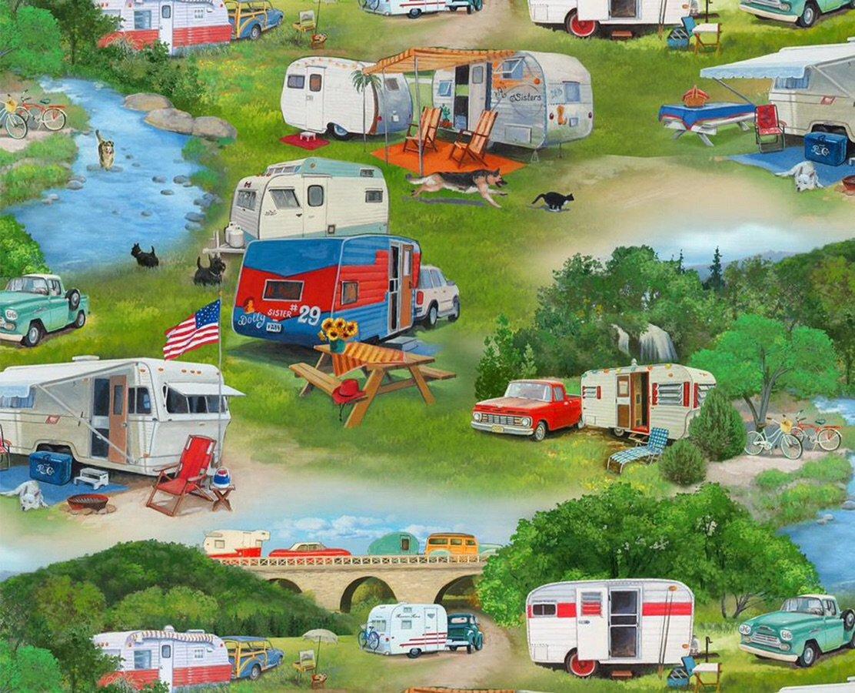 Caravans in the bush green