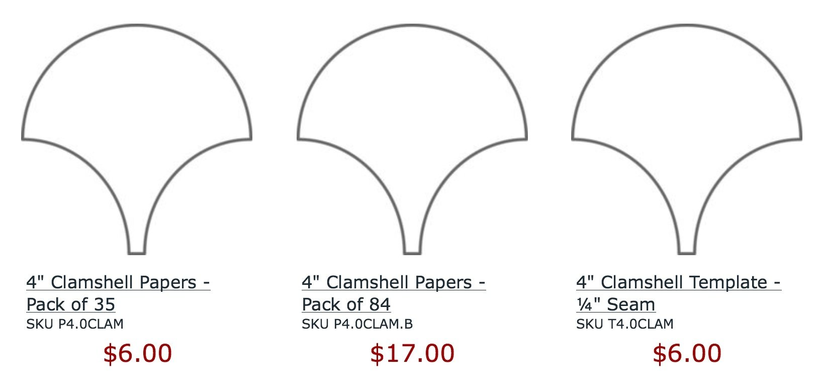 Clam shell papers 4 pack of 35