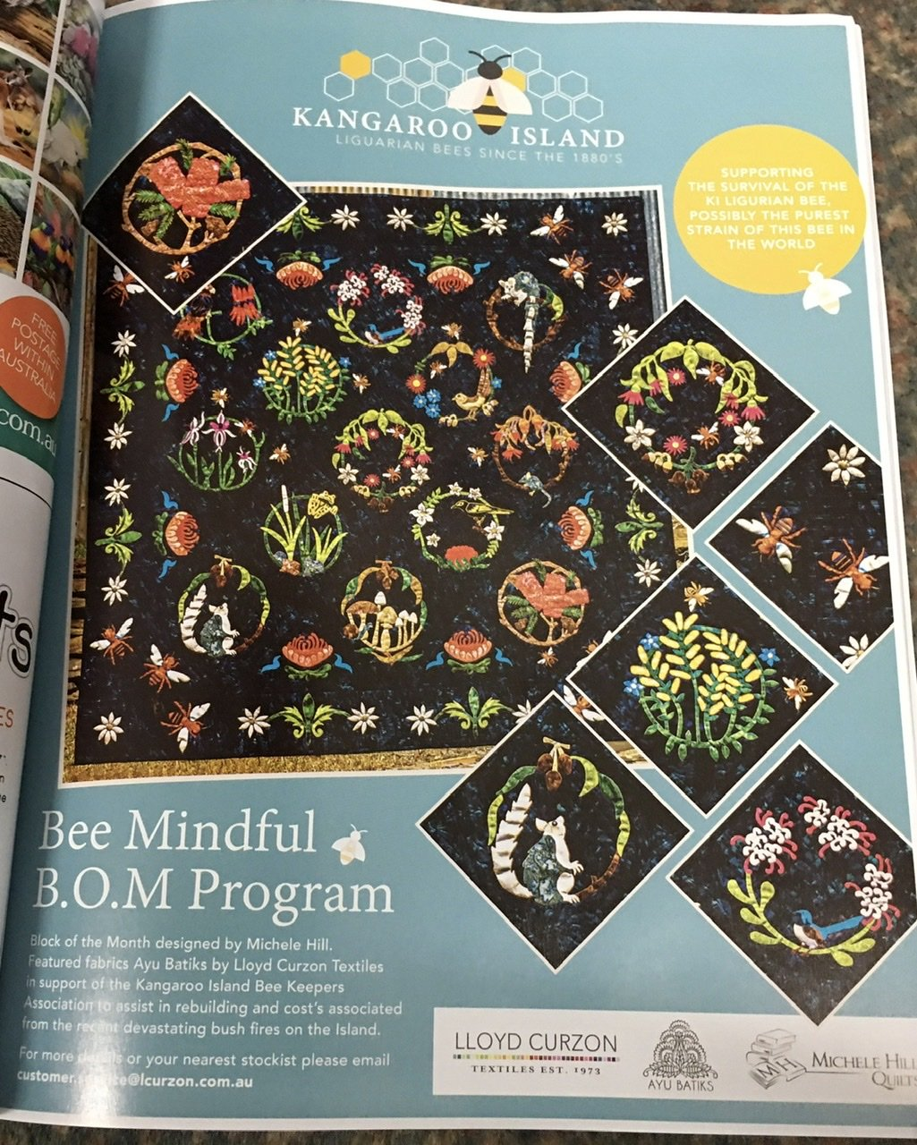 Bee Mindful applique quilt block of the month